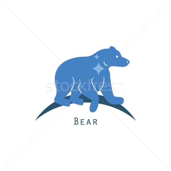 Jegesmedve logo vektor kék rajz vadállat Stock fotó © yopixart