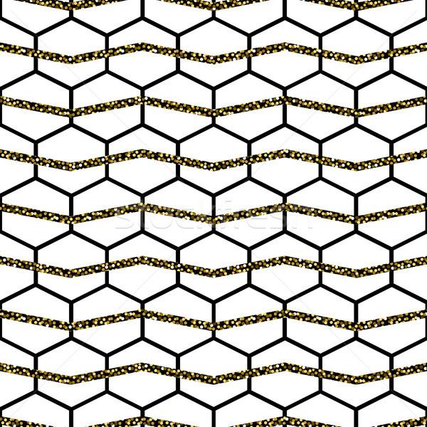 Honey comb cells vector gold glitter seamless pattern. Stock photo © yopixart
