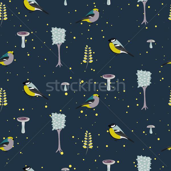 Sötét kék erdő végtelen minta madarak fák Stock fotó © yopixart