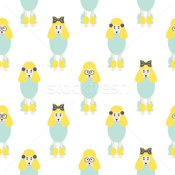 Poodle cute blue and yellow seamless vector hipster pop pattern. Stock photo © yopixart