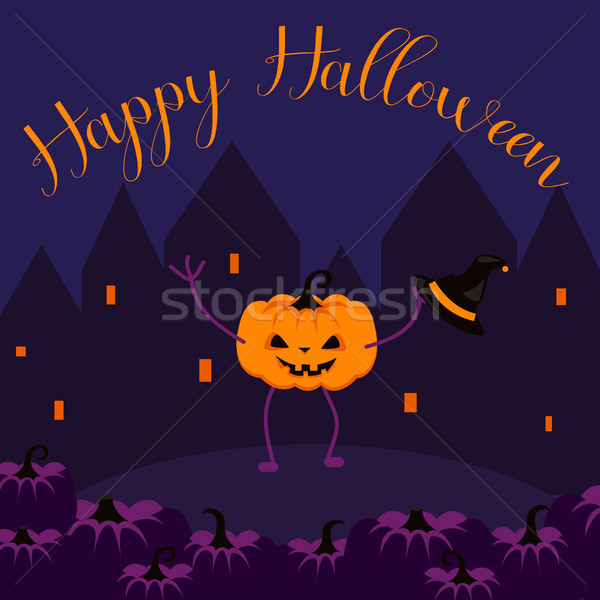 Stock photo: Happy Halloween postcard vector banner.