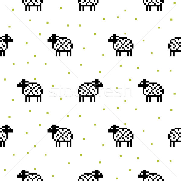 Sheep black and white cartoon pixel art seamless pattern. Stock photo © yopixart