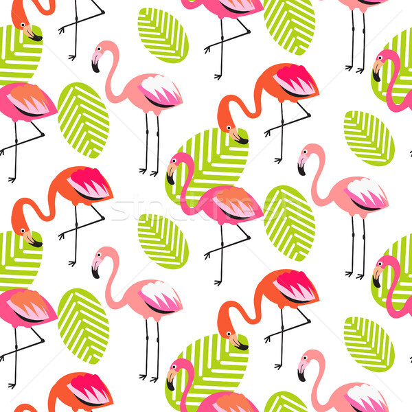 Summer flamingo and leaves seamless pattern. Stock photo © yopixart