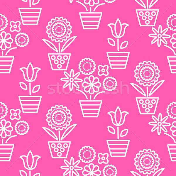 розовый белый линия цветок бесшовный вектора Сток-фото © yopixart