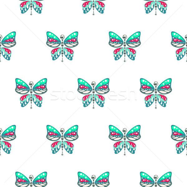 Farfalla verde blu baby senza soluzione di continuità vettore Foto d'archivio © yopixart
