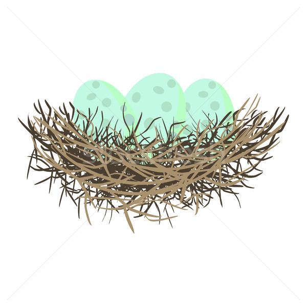 緑 卵 鳥の巣 食品 抽象的な ストックフォト © yopixart