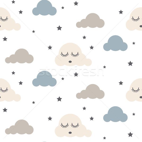 álmos felhők végtelenített vektoros minta gyerek szürke Stock fotó © yopixart