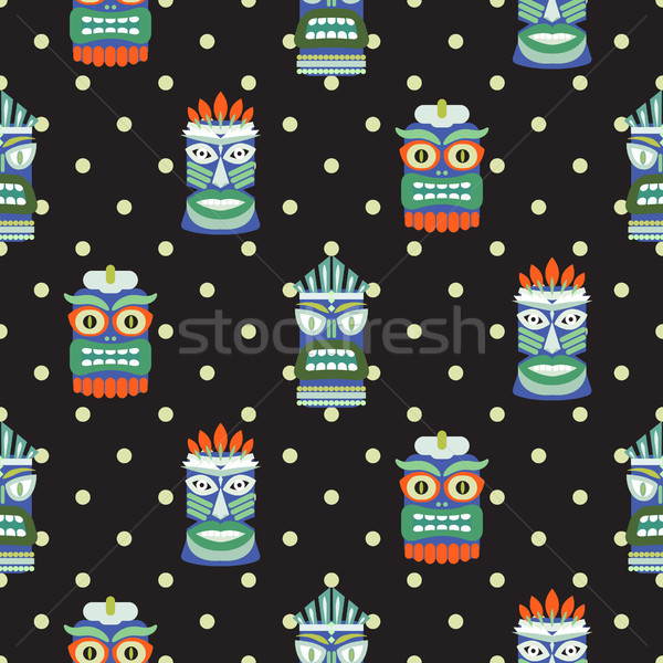 African totem mask seamless polka dot dark pattern vector. Stock photo © yopixart