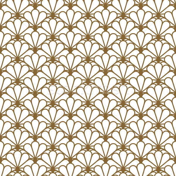 Japan inspired vector seamless pattern in gold line color style. Stock photo © yopixart