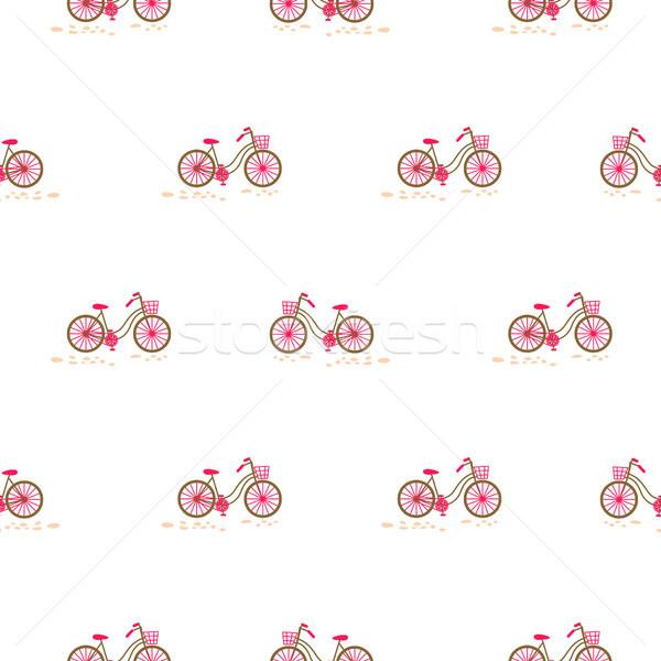 Bicicleta cesta roda branco Foto stock © yopixart