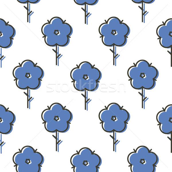 Geometric blue scandinavian style flower seamless simple bold vector pattern. Stock photo © yopixart