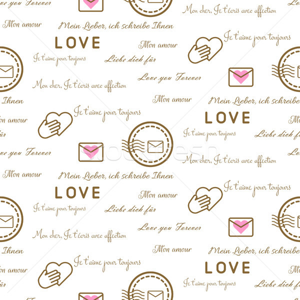 Love letters seamless vector pattern on white. Romantic valentine wrap paper design. Stock photo © yopixart