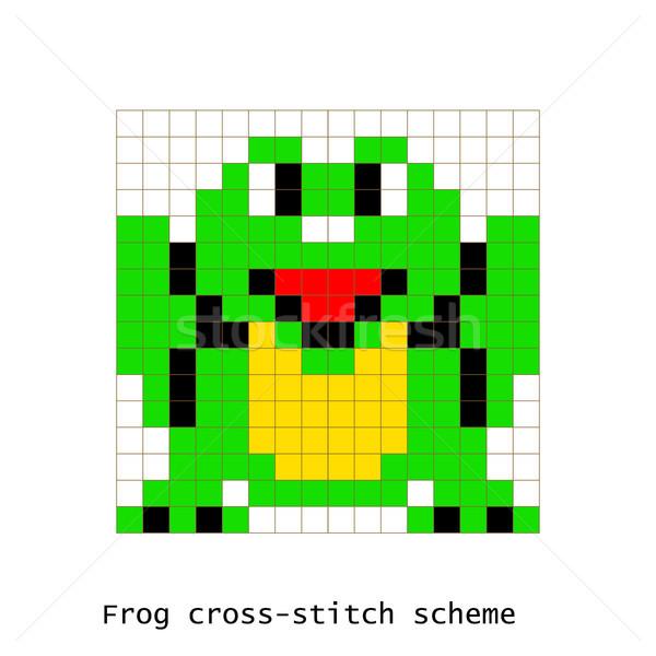 Cross-stitch pixel art frog animals vector set. Stock photo © yopixart