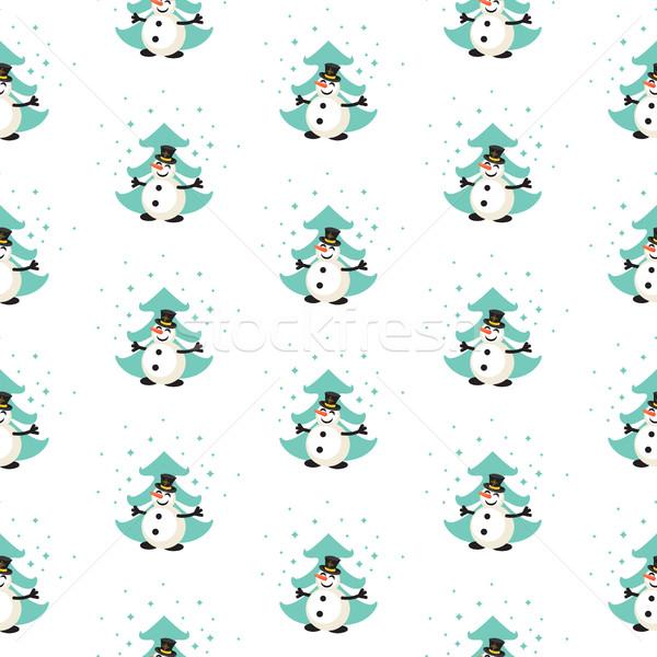 Amusement bonhomme de neige forêt modèle modèle vectoriel Photo stock © yopixart