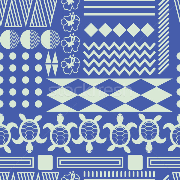 Hawaiian culture ethnic ornament seamless vector pattern. Stock photo © yopixart