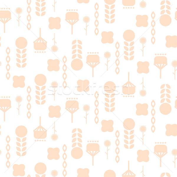 Stock photo: Scandinavian folk pale pink floral art pattern seamless vector.