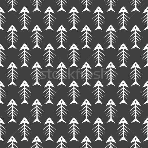 Fishbone monochrome seamless vector pattern. Stock photo © yopixart