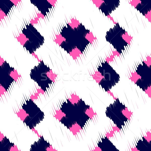 Ikat scribble swabs vector seamless pattern. Stock photo © yopixart