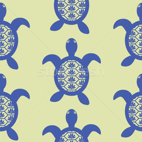Azul tartaruga sem costura vetor verde padrão Foto stock © yopixart