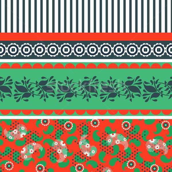 цветочный красный зеленый бесшовный вектора шаблон Сток-фото © yopixart