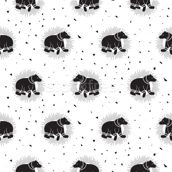 Bear black and white tribal seamless vector patterns. Stock photo © yopixart