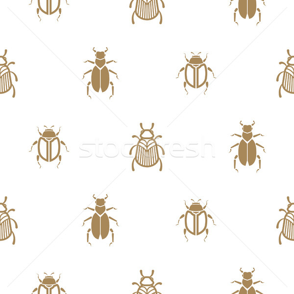 Beetle gold and white vector seamless pattern for print. Stock photo © yopixart