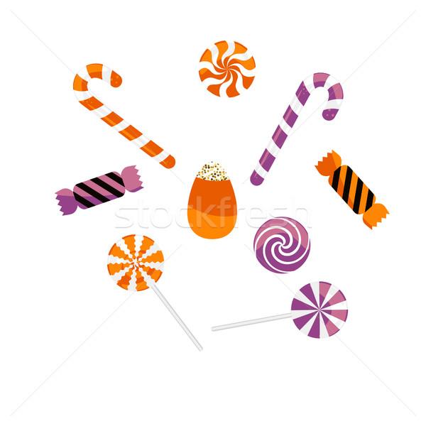 Halloween csemege karamell cukorkák vektor szett Stock fotó © yopixart