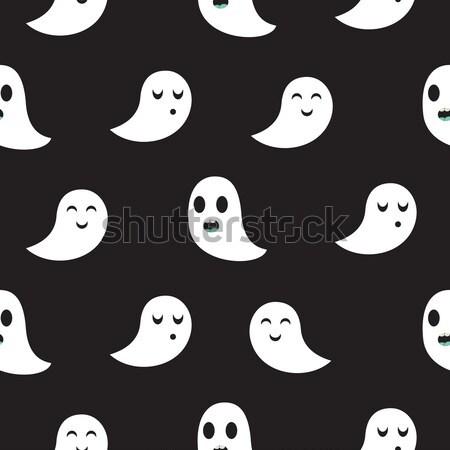 Foto stock: Fantasma · preto · sem · costura · padrão · vector · engraçado