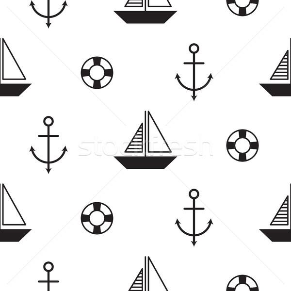 Vitorlás végtelenített tengerészeti vektor minta stílus Stock fotó © yopixart