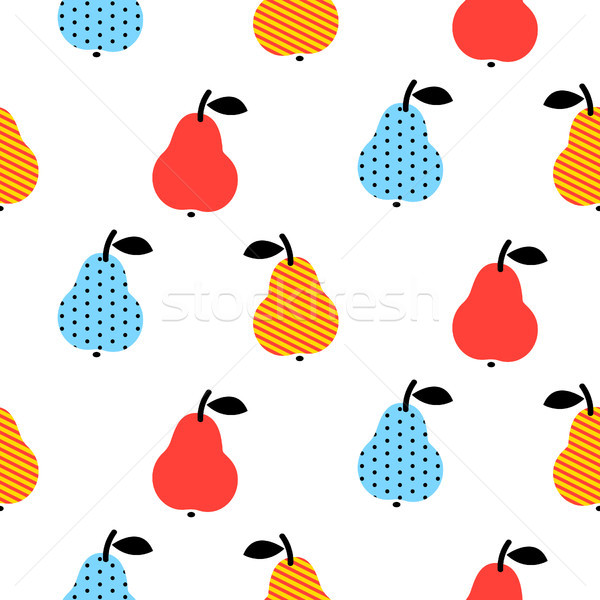 Dotted pear seamless blue and red pattern on white. Stock photo © yopixart