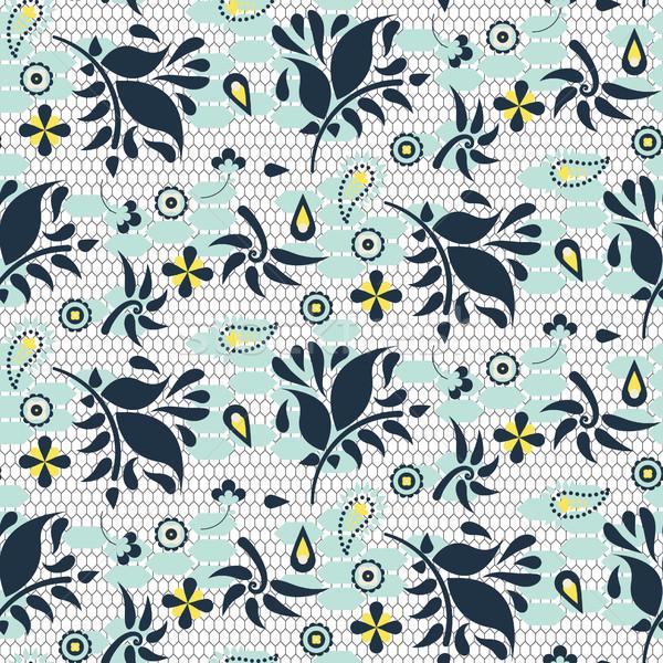 Floral renda azul vetor Foto stock © yopixart