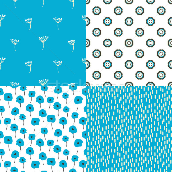 Stock photo: Bright blue and white flowers and abstract shape seamless vector pattern set.