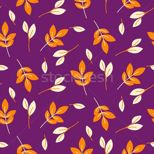 素朴な 秋 オレンジ 葉 シームレス 紫色 ストックフォト © yopixart