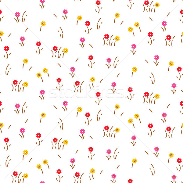 Small flowers line floral romantic pattern seamless vector. Stock photo © yopixart