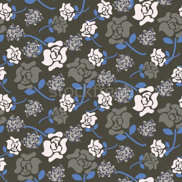 Rosa fiori grigio blu floreale buio Foto d'archivio © yopixart