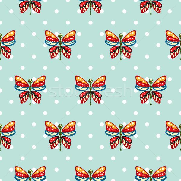 Papillon bleu à pois bébé vecteur Photo stock © yopixart