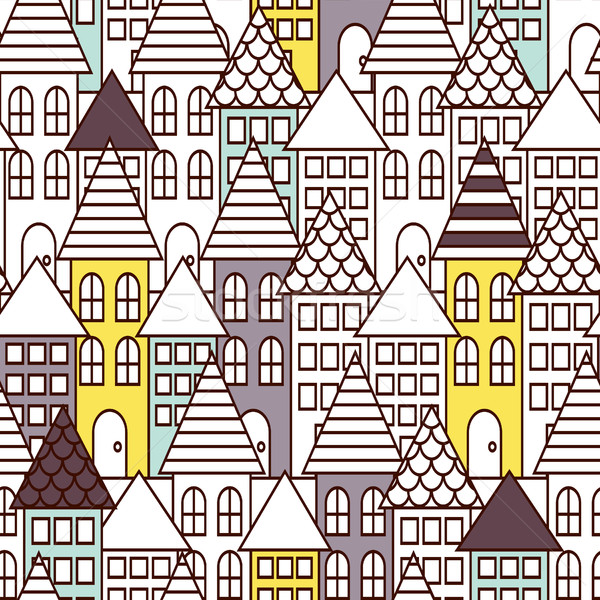 Partially colored outline town seamless pattern. Stock photo © yopixart