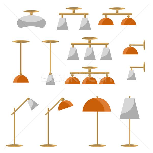 интерьер лампы вектора современных потолок Сток-фото © yopixart