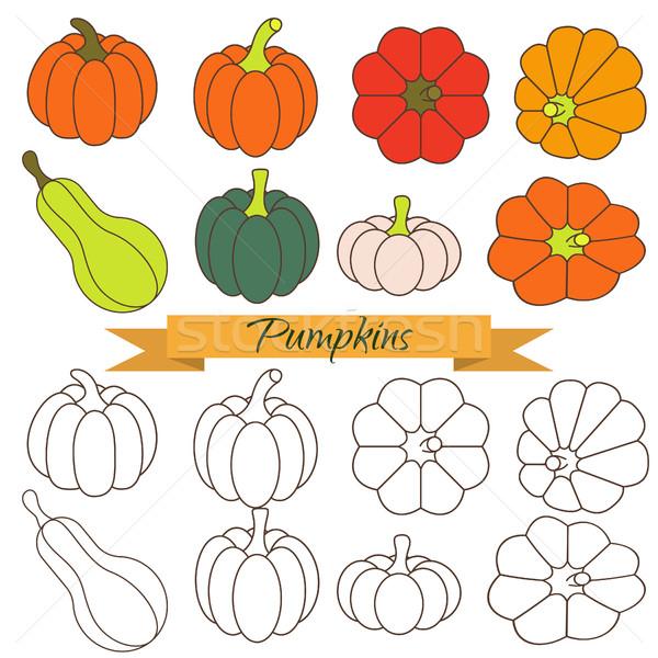 Ingesteld pompoen plantaardige vector clip art oranje Stockfoto © yopixart