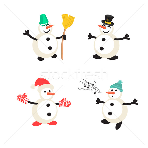 Snowman cartoon vector icon set. Stock photo © yopixart