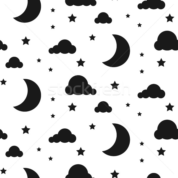 Starlight night seamless vector pattern. Stock photo © yopixart