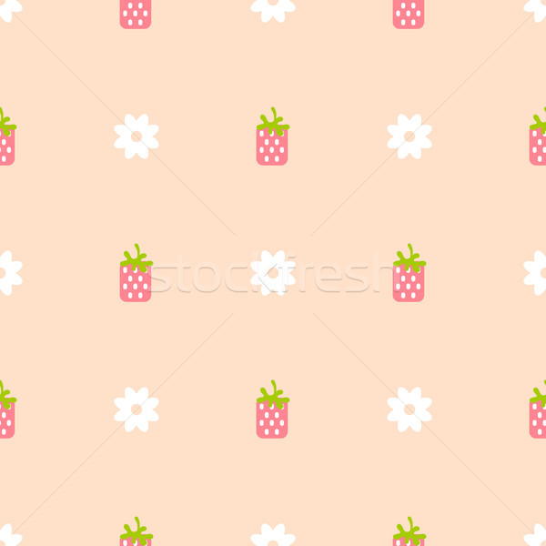 Strawberry pink and peach color seamless pattern. Stock photo © yopixart