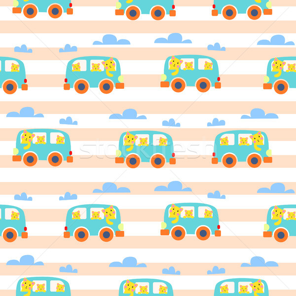 Cat family in hipster van vector illustration for kid apparel. Stock photo © yopixart