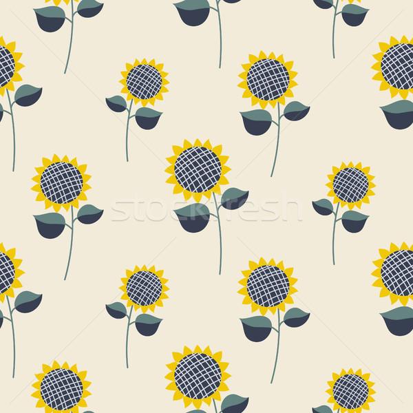 Napraforgó növény rajz végtelen minta végtelenített vektor Stock fotó © yopixart