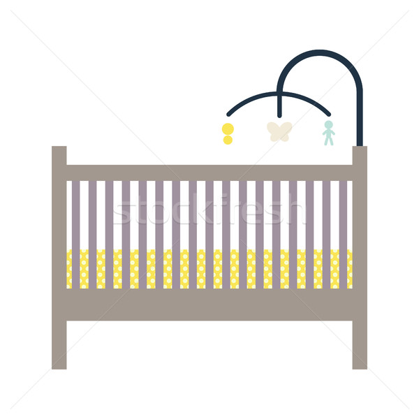 Newborn crib and mobile toy. Stock photo © yopixart