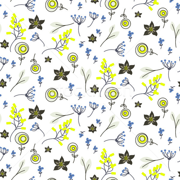 Small flowers and branches seamless vector pattern. Stock photo © yopixart
