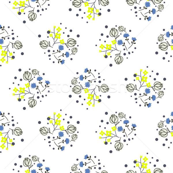 Millefleurs miniature flowers and branches seamless vector pattern. Stock photo © yopixart