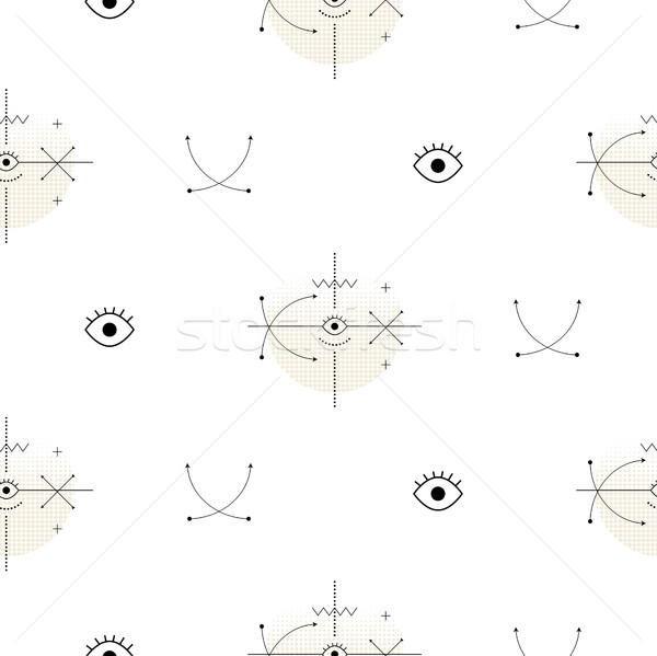 Sacred geometry arrow shapes seamless vector pattern. Stock photo © yopixart