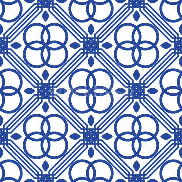 ストックフォト: 青 · 白 · 地中海 · シームレス · タイル · パターン