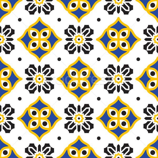 Nero giallo mediterraneo senza soluzione di continuità piastrelle pattern Foto d'archivio © yopixart